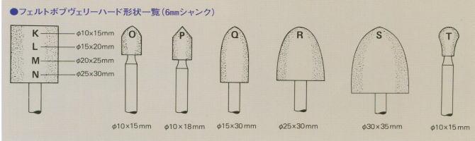 フェルトボブヴェリーハード形状一覧(6mmシャンク)