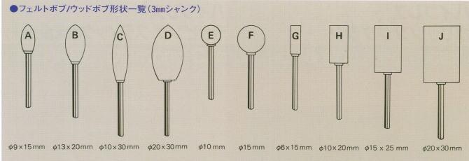 フェルトボブ/ウッドボブ形状一覧(3mmシャンク)