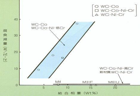 結合相量と腐食減量との関係(10%NHO3(25℃24Hr)の例)